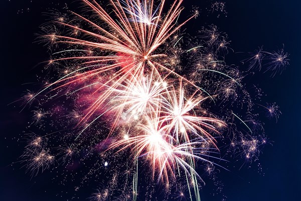Firework display with cremation ashes