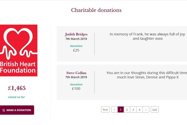 Funeral Notices charity donations Dignity Funerals