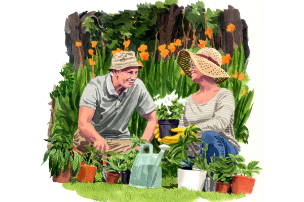 Illustration of couple gardening